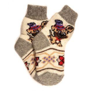 Шерстяные носки детские с собачкой