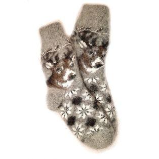 Носки из козьего пуха, подростковые с оленями