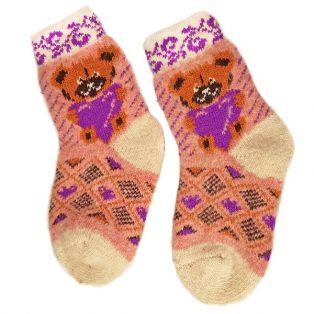 Носки шерстяные, подростковые, с мишкой, размер - 30-35