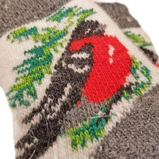 Носки шерстяные, подростковые, со снегирем, размер - 32-37