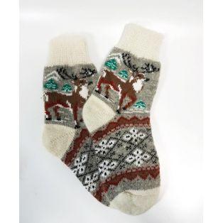 Шерстяные носки женские с оленем