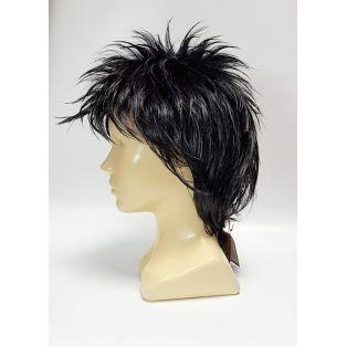 Парик с искусственными волосами с короткой стрижкой, черного цвета.