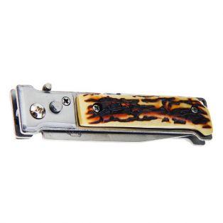 Складной нож автоматический, длина лезвия 7 см, с фонариком