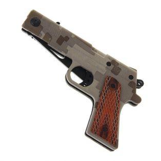 Складной нож, длина лезвия 16 см, с фиксатором, рукоять цвета хаки, в виде пистолета