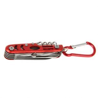 Складной нож многофункциональный 11в1, лезвие 4 см, рукоять с карабином, красная