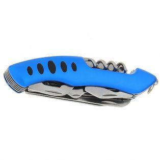 Складной нож многофункциональный 11в1, лезвие 6 см, рукоять синяя с насечками
