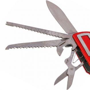 Складной нож универсальный 11в1, лезвие 6 см, красная пластиковая рукоять со стрелой