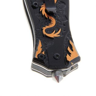 Складной нож, длина лезвия 6 см, рукоять с драконом, микс