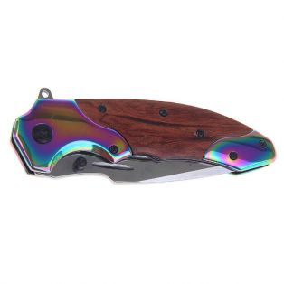 Складной нож, длина лезвия 16 см, с фиксатором, рукоять деревянная с перламутровыми вставками