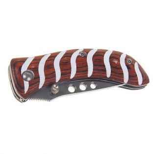 Складной нож, длина лезвия 11 см, с фиксатором, деревянная рукоять с белыми полосками