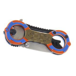 Складной нож, длина лезвия 12 см, с фиксатором, рукоять с двумя круглыми отверстиями