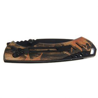 Складной нож в чехле, длина лезвия 9 см, с фиксатором, рукоять хаки песочная