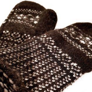 Варежки мужские, натуральная шерсть, коричневые, вязанные, с узорами