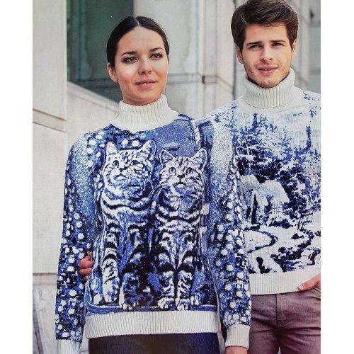 Женский свитер с котами 130-108