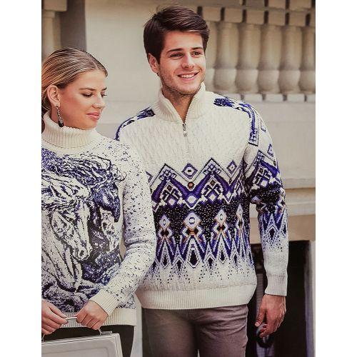 Мужской свитер с замком и узором 230-401
