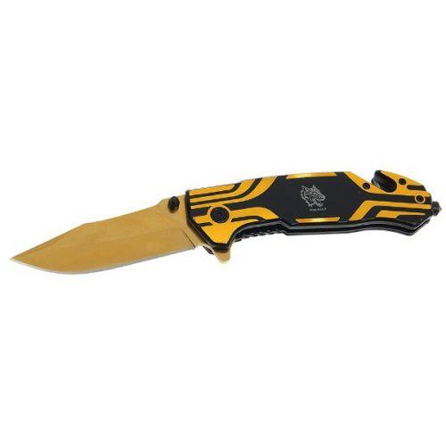 Складной нож, лезвие drop-point 9,5 см, рукоять с крюком, золото