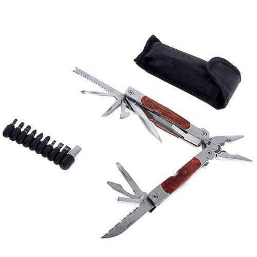 Складной нож многофункциональный 11в1, с деревянной вставкой на рукояти, в чехле
