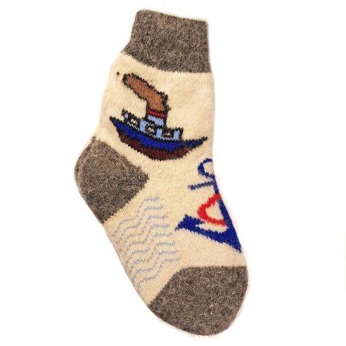 Носки шерстяные, подростковые, с корабликом, размер - 30-35
