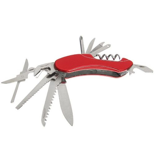 Складной нож многофункциональный 11в1, лезвие 4 см, рукоять с дугами, микс
