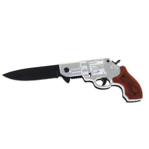 Складной нож, длина лезвия 16 см, с фиксатором, рукоять в форме пистолета