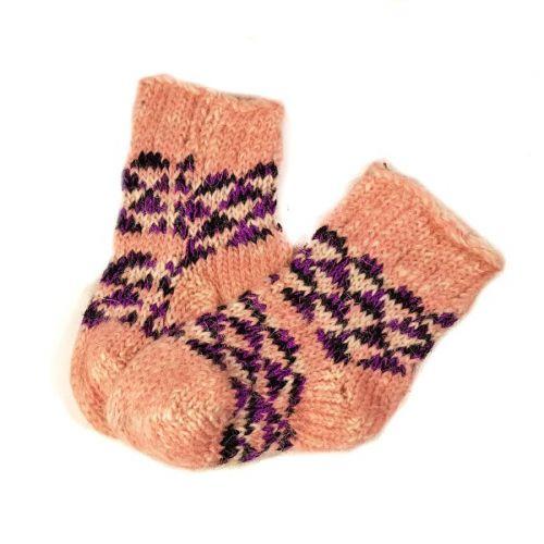 Носки шерстяные, детские, с узорами, возраст - 1-3 года