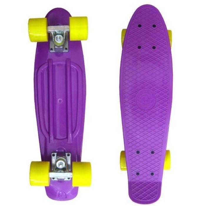 Пенни борд Ecobalance фиолетовый с желтыми колесами