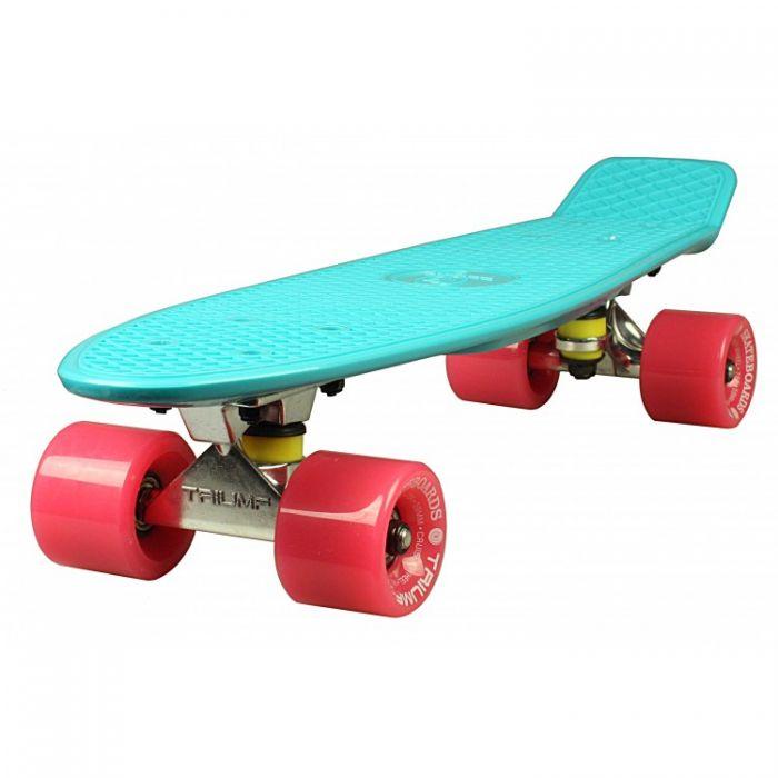 """Скейтборд Triumf Active 22"""" TLS-401 мятный с розовыми колесами"""
