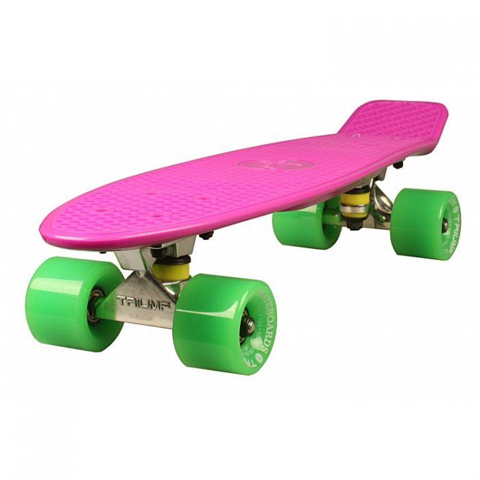 """Скейтборд Triumf Active 22"""" TLS-401 розовый с зелеными колесами"""