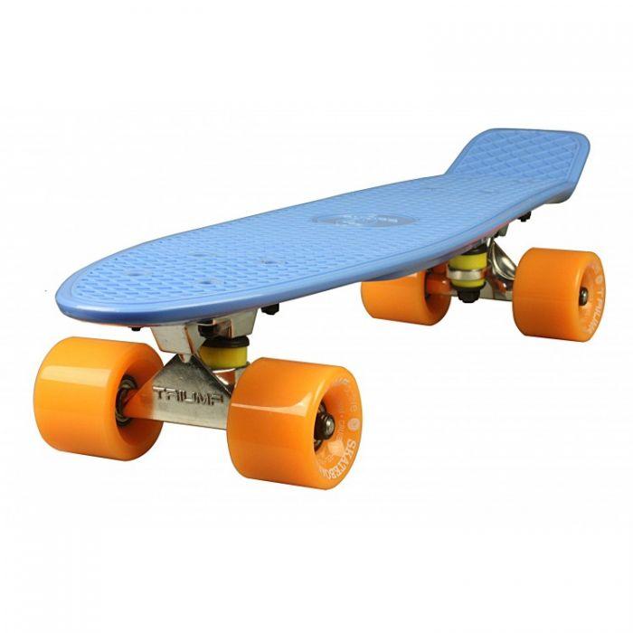 """Скейтборд Triumf Active 22"""" TLS-401 синий с оранжевыми колесами"""