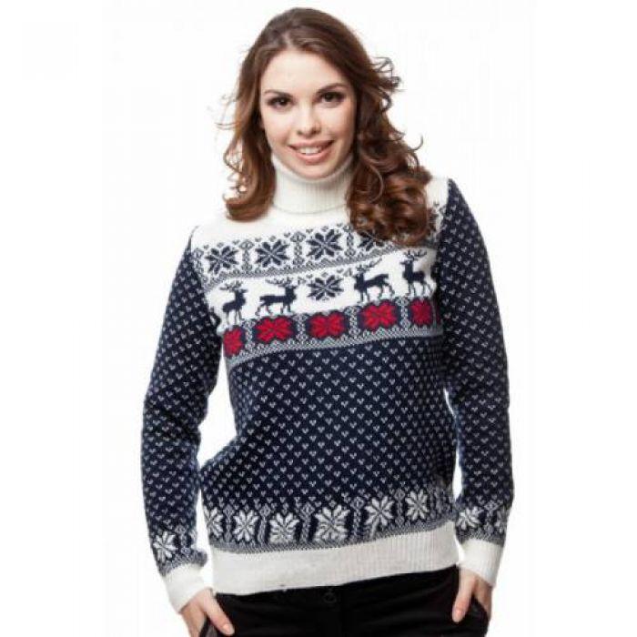 Женский вязаный свитер с оленями CK061