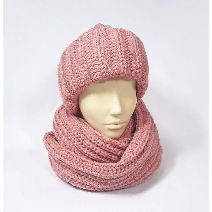 Комплект шапка и шарф (перламутрово-розовый)