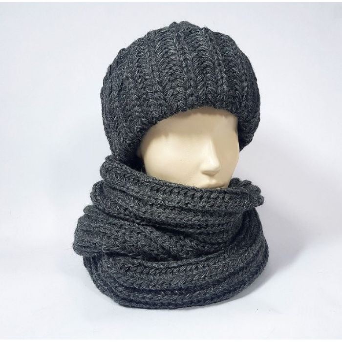 Комплект шапка и шарф унисекс чёрного цвета