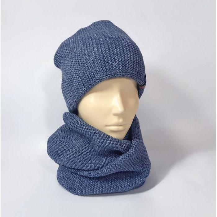 Комплект шапка и шарф (серо-синий)
