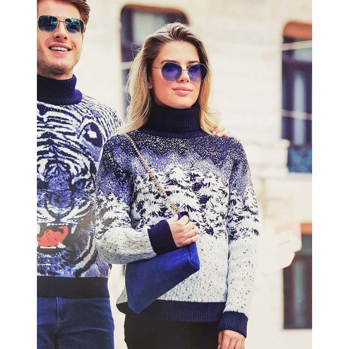Женский свитер с принтом «Лес» 130-85