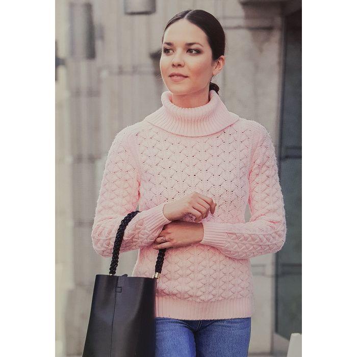 Женский розовый свитер 140-04