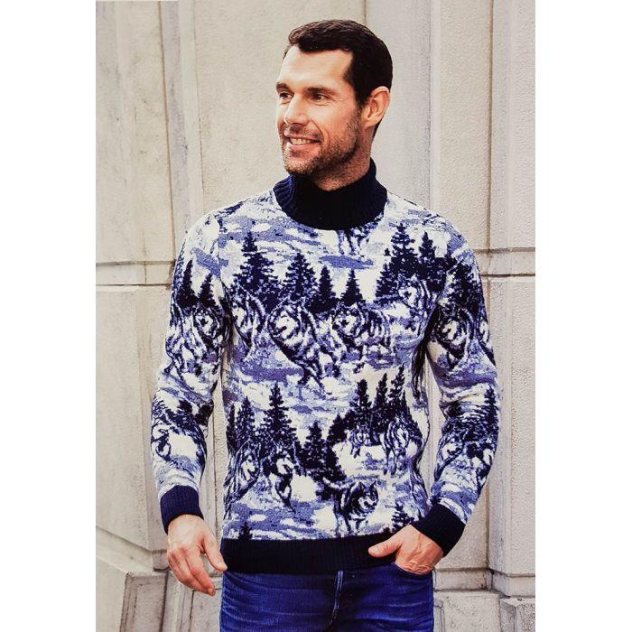 """Мужской свитер с пейзажем """"Лес"""" 230-408"""