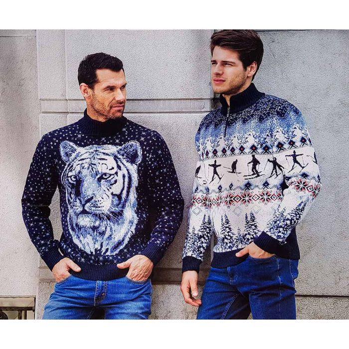 Мужской свитер с тигром 230-413