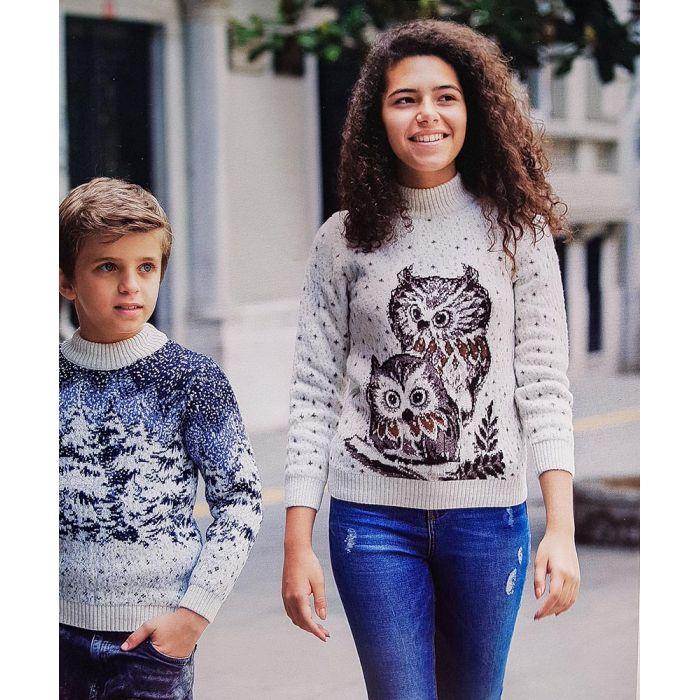 Детский свитер с совами 340-23