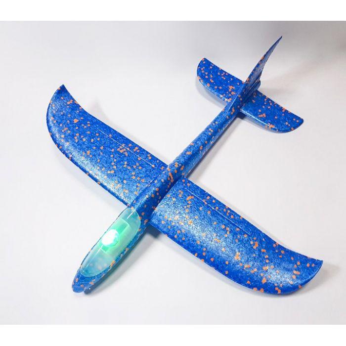 Самолетик из пенопласта 48 см - светящийся Синий