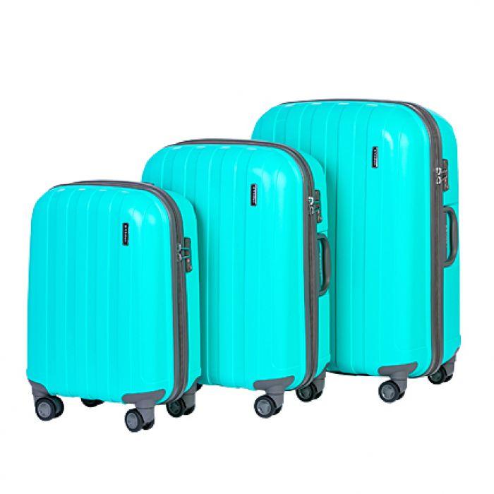Пластиковый чемодан на четырех колесах бирюза