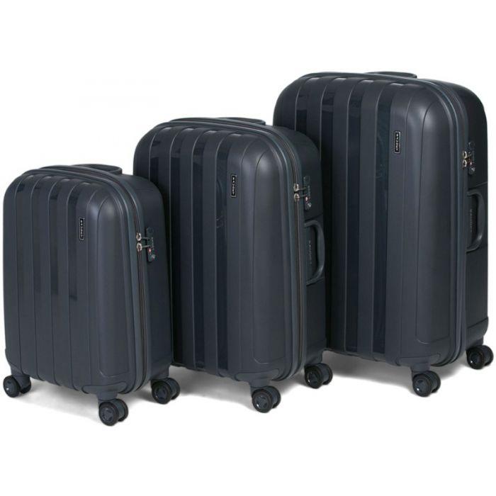 Пластиковый чемодан на четырех колесах серебристо-черный