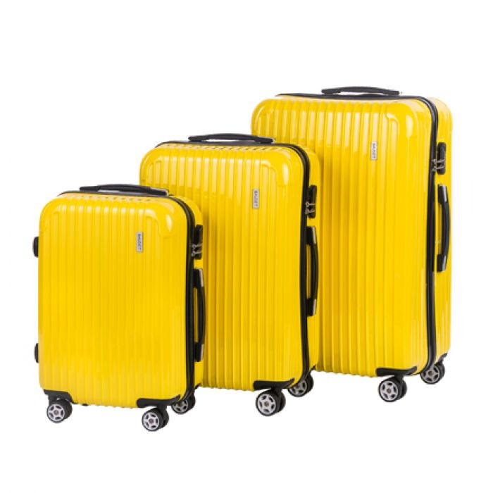 Пластиковый чемодан на четырех колесах солнечно-жёлтый