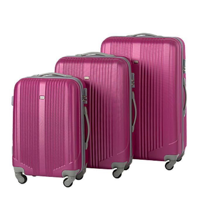 Пластиковый чемодан на четырех колесах пурпурный