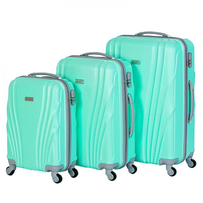 Пластиковый чемодан на четырех колесах бирюзовый