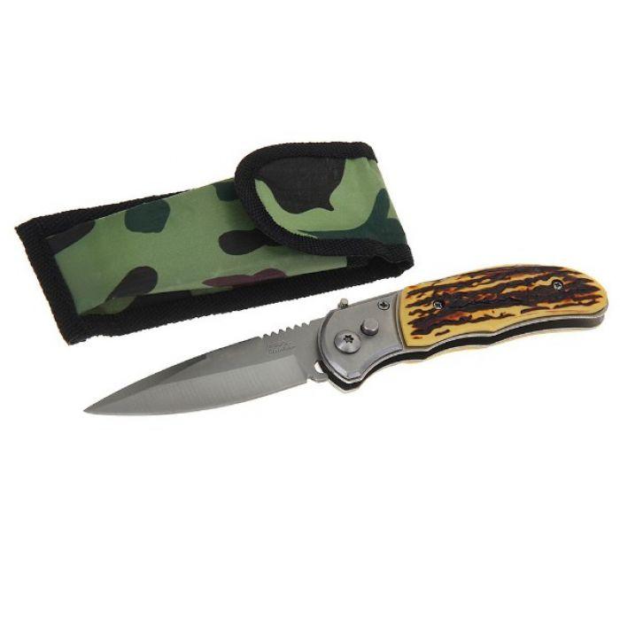 Складной нож, лезвие 8,7 см, ручка пластик под кость, кнопка, предохранитель
