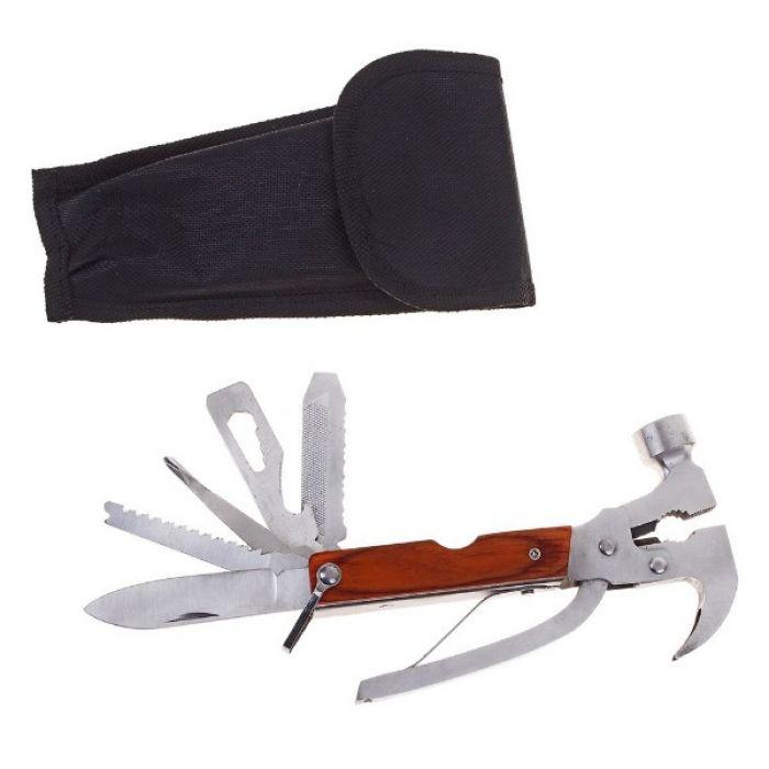 Складной нож многофункциональный 8в1, рукоять дерево
