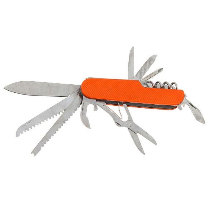 Складной нож многофункциональный 11в1, лезвие 6 см, рукоять в мелкую сетку, микс