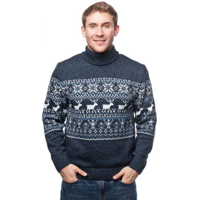 Мужской вязаный свитер с оленями 05155 голубой