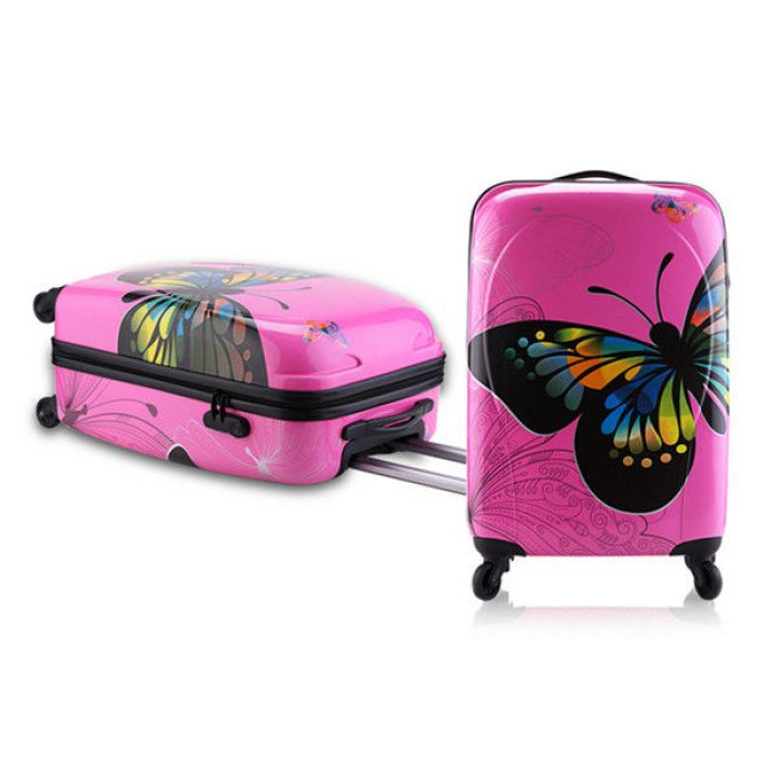 Пластиковый чемодан на четырех колесах Travel Car розовый